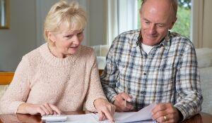 Older couple checking finances