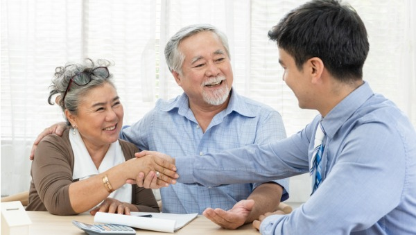 older people getting advice from planner