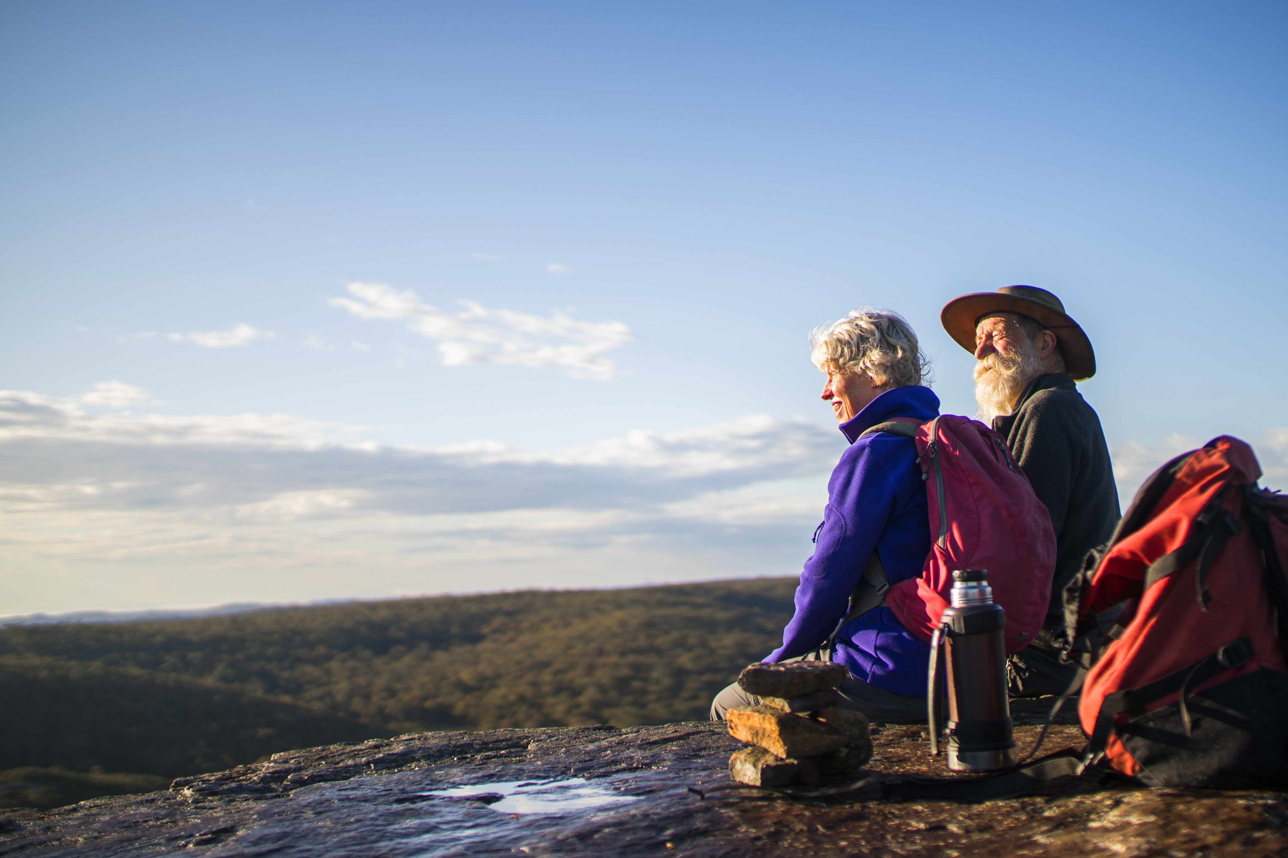 Retired couple hiking in Blue Mountains